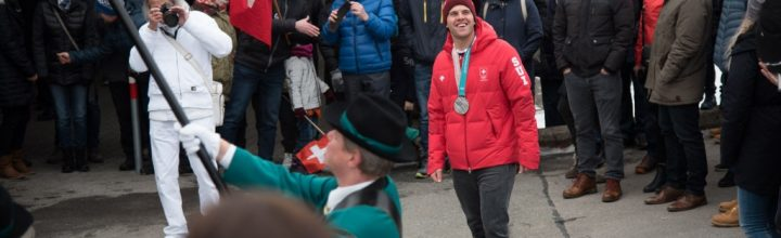 Empfang Marc Bischofberger, Olympischer Silbermedaillengewinner im Skicross